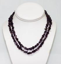 220.01 CTW Natural Amethyst Un-Cut Necklace  #49127v1