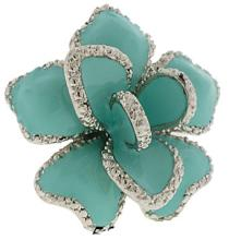 Silver Turquoise Epoxy Ring Austrian Crystal Stone #90261v2
