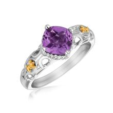 18K Yellow Gold and Sterling Silver Ring with Amethyst and Fleur De Lis Motifs #93320v2
