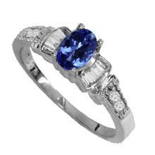 GENUINE .34 CTW DIAMOND AND TANZANITE RING IN SOLID 18K WHITE GOLD #50024v2