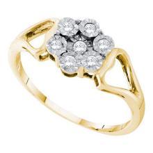 925 Sterling Silver Yellow 0.10CTW DIAMOND FLOWER RING #57897v2