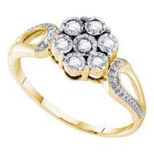 925 Sterling Silver Yellow 0.12CTW DIAMOND FLOWER RING #57895v2