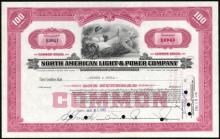 100 Share Stock Certificate from North American Light & #34710v2