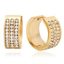 Huggie Earrings with Simulated Diamonds 18 Karat Gold #90729v2