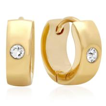 GOLD PLATED STAINLESS STEEL HUGGIE EARRINGS WITH SIMULATED DIAMOND 18 karat gold #90772v2