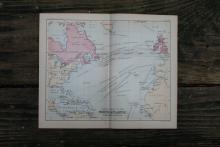 AUTHENTIC VINTAGE1888 - Atlantic Ocean Map #78074v2
