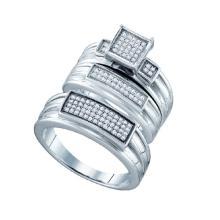 925 Sterling Silver White 0.31CTW DIAMOND FASHION TRIO SET #53015v2