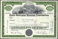 Stock Certificate from the Great Northern Nekoosa Paper Corporation #50179v2