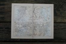 AUTHENTIC VINTAGE1888 - Adelaide, Sydney, Brisbane & Melbourne Map #78090v2
