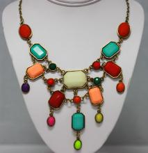 152 CTW MULTICOLOR OCTAGON-OVAL BRASS NECKLACE;18INCH #46302v1