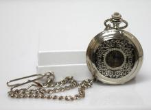 COLLECTIBLE OPEN FACE MECHANICAL POCKET WATCH W/FILIGRE #64813v1