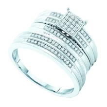 925 Sterling Silver White 0.25CTW DIAMOND MICRO PAVE TRIO SET #50450v2
