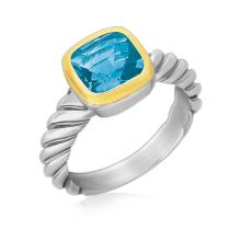 18K Yellow Gold and Sterling Silver Cable Style Ring with a Cushion Blue Topaz #93019v2