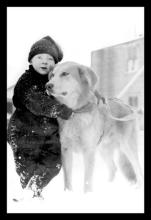 Child with Dog in Alaska 12x18 Giclee on canvas #75151v2