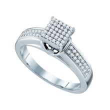 925 Sterling Silver White 0.25CTW DIAMOND MICRO PAVE RING #51039v2