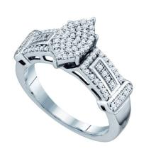 925 Sterling Silver White 0.33CT DIAMOND MICRO PAVE RING #61074v2