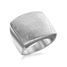 Sterling Silver Rhodium Plated Stardust Motif Flat Ring #94155v2