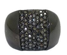 Gunmetal Hermatie Crystal Ring #90172v2