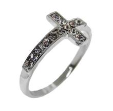 One Tone Silver, White Crystals cross ring #90550v2