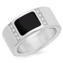 Stainless steel ring in jet black #90224v2