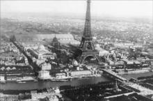Eiffel Tower as viewed from a Balloon 12x18 Giclee on canvas #75184v2