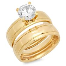 Gold Plated Stainless Steel Double Engagement Ring 18 Karat Gold #90548v2