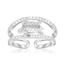 Sterling Silver Rhodium Plated Open Toe Ring with a Turtle Accent #94776v2