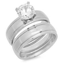 Double Engagement Ring with simulated diamond #90710v2