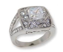 Silver Tone White Cubic Zirconia & Crystal Ring #90278v2