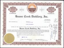 VINTAGE 1960s BEAVER CREEK DISTILLERY STOCK CERTIFICATE #43209v2