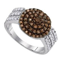 10KT White Gold 0.75CTW COGNAC DIAMOND FASHION RING #54724v2