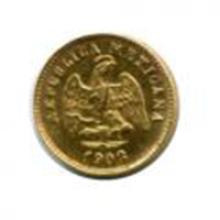Mexico 1 peso gold 1902Mo small date UNC #49065v2