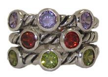 Dark multi Triple Cable Ring Austrian Crystal #90217v2
