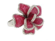 Silver Dark Pink Epoxy Ring White CZ Ring #90412v2