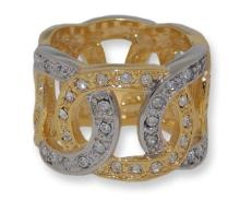 Two toned gold & silver white crystals ring #90279v2