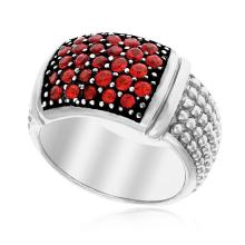 Sterling Silver Popcorn Style Ring with Rubies #94077v2