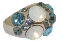 Blue Topaz Austrian Crystal Dome Ring in Rhodium #90274v2