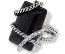 Genuine Black Onyx Ring accented in Crystal #90455v2