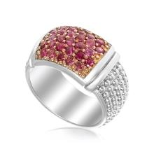 Sterling Silver Popcorn Motif Ring with Pink Sapphire Accents #94684v2