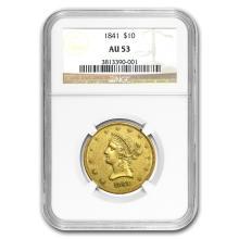 1841 $10 Liberty Gold Eagle AU-53 NGC #43188v2
