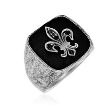 Sterling Silver Black Spinel Fleur De Lis Style Men's Ring #95060v2