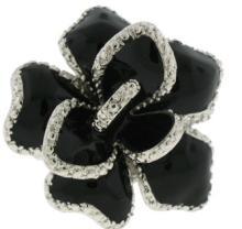 Silver Jet Black Epoxy Ring White Austrian Crystal Stone #90258v2