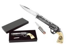 JESSE JAMES FOLDING DISPLAY KNIFE W/BULLET KNIFE AND CA #16679v2
