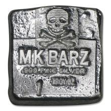 1 oz Silver Square - Skull & Crossbones #42971v2