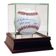 RICKEY HENDERSON SIGNED STAT MLB BASEBALL WITH 5 INSCRI #42560v2