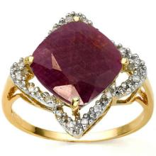 GENUINE 4.02 CTW RUBY AND DIAMOND 18K YELLOW GOLD RING #42272v2