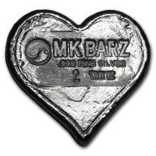 2 oz Silver Heart - MK Barz & Bullion #42991v2