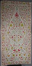 A CREWEL WORK COVER OR HANGING , Kashmir, early 20th century