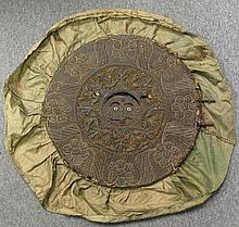 A SILVER THREAD EMBROIDERED VELVET FAN OR CANOPY , Late Mughal, India, circa 1800