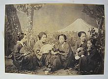 FELICE BEATO  Geishas at tea  Early uncoloured photograph, albumen print, 1864/65  12.7c